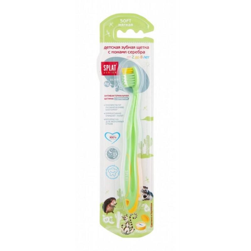 Antibakteriálna zubná kefka SPLAT s iónmi striebra pre deti od 2 do 8 rokov - Zelená