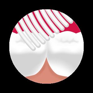 Sofistikovane upravné vrchné časti vlákien účinne vyčistia aj najužšie medzi-zubné priestory.